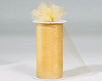 6 inch x 300 ft Nylon Tulle Roll - NEW GOLD-**On Sale Now **