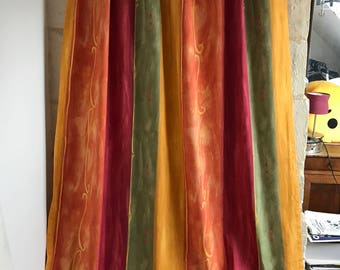 VINTAGE FRENCH CURTAINS / Draperies / Panel curtains / Fabric / Yellow / 80s / 90s / French vintage curtains / Floral / Yellow Orange Green