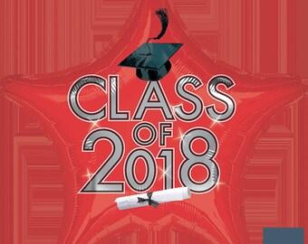 "18"" Red Class of 2018 Mylar Balloon: Graduation, Seniors, Class Color, Birthday, Shower, Wedding, College, Dorm, School, Photo Prop"