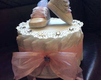 Small Diaper Cake with Baby Shoes