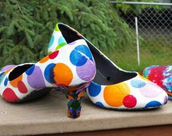 Rainbow Polka Dot Shoes