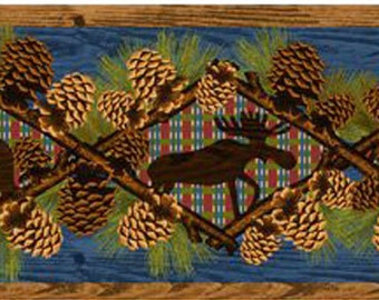 Rustic Pine Cones Fish Bear Moose Lodge Wallpaper Border for Decor, Crafts, Scrapbooking