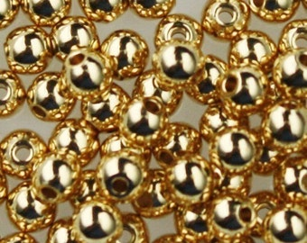 200 solid brass natural round beads - 3.5mm