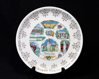 State of Tennessee Souvenir Plate-US Travel-Nashville-Cotton-Tobacco-Norris Dam-Sunset Rock-Iris-The Hermitage-Orphaned Treasure-P030918V