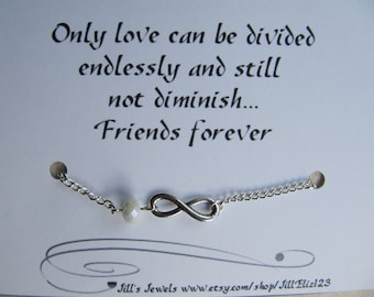 Best Friend Infinity Charm Bracelet a Crystal and Friendship Quote Inspirational Card- Bridesmaids Gift - Friends Forever - Quote Gift