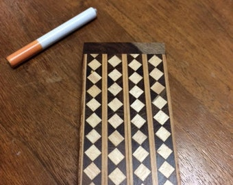 """Wood Dugout One Hitter 4"""" x 2"""" with Cigarette Style Bat Stained Wood with Decorative Design"""