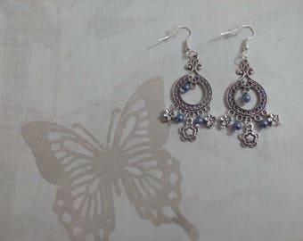 spirit blue pearls flower design earrings