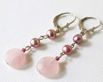 Rose Quartz Pink Pearl Earrings  Pink Sterling Silver Earrings  Pink Bridesmaid Earrings  Rose Quartz Dangle Earrings