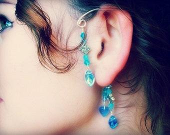 Fantasy Elemental Ear Cuff Blue Paradise No Piercing Beach Wedding Ear Wrap , Gypsy Dangle Earrings Gift Womens Teen, Gifts for Her