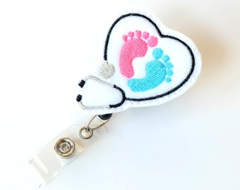 Baby Feet Badge Reel - Labor and Delivery Staff Gift - NICU Nurse Name Badge Holders - Felt Badge Clips - Neonatal Badge Pulls - BadgeBlooms