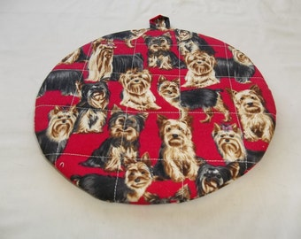 Quilted Pot Holder, Potholders, Hot Pads, Trivet, Yorkie, Terrier, Round Cotton, Handmade, 9 Inches, Double Insulated, Hostess Gift, Red