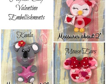 """Hand Made Polymer Clay Valentine Kuala Owl Mouse Ears Embellishment about 2"""" tall, scrapbooking, hair bow supply, craft supply,"""