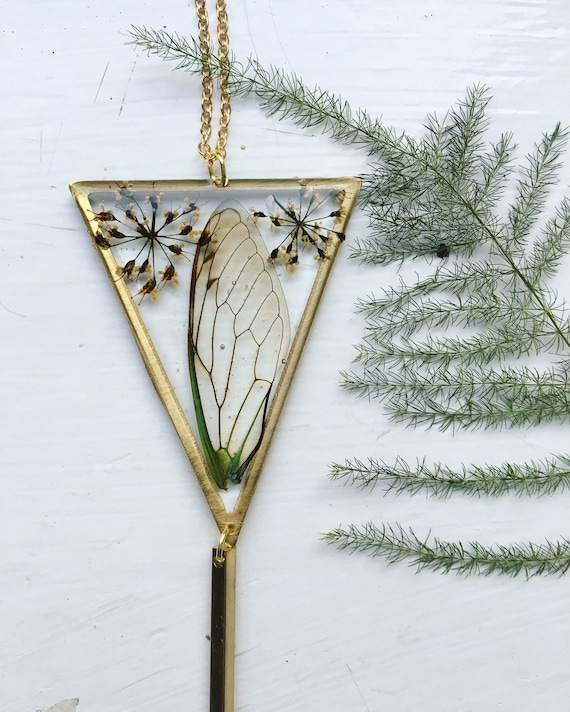 Cicada wing brass triangle necklace