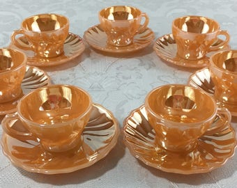 7 Vintage Fire King Anchor Hocking Peach Luster Iridescent Coffee Tea Cups and Saucers