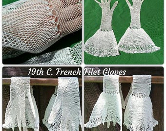 Long Antique 19th Century French Filet Lace Gloves White Net Cotton Size Small 6/6.5  Collectible #sophieladydeparis