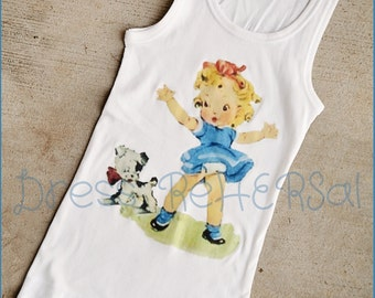 Blue Vintage Betty tank Or t shirt for little girls