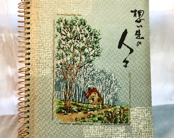 Vintage Photo Album with House and Trees. Asian Inspired. Spiral with Cloth Covers. House in the Trees.