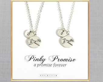 Best Friend Gift, 2 Pinky Promise Necklaces, THE ORIGINAL Friends Forever Matching Couples Pinky Swear Boyfriend Girlfriend Friendship