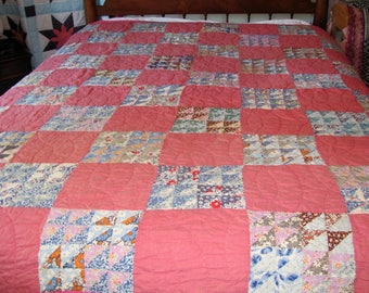 Reserved for Jeannie Handmade Patchwork Quilt / Feed Sack Quilt Twin Full Size 1930's