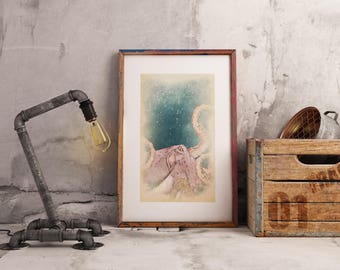 Octopus wall art, tentacles wall decor, octopus tentacle, octopus bathroom art, beachhouse decor, aquatic life print, octopus wall decor