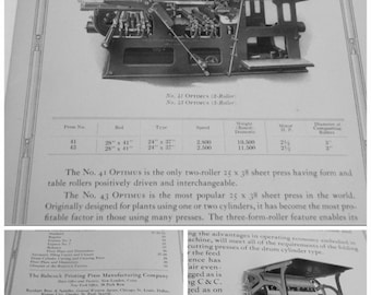 Vintage Babcock Printing Press Catalog Typography Lithography Babcock Equipment Manufacturing 1930's