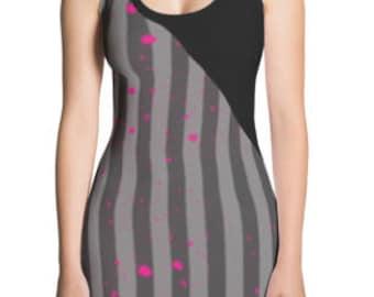 Black Gray Stripe Hot Pink Splashes Mini Dresses