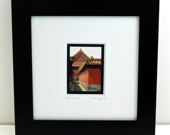 Framed Photography, Asian Art, Red Black & Gold Architectural Print, Framed Fine Art Photography, Framed Art, Asian Decor,Black Framed Print
