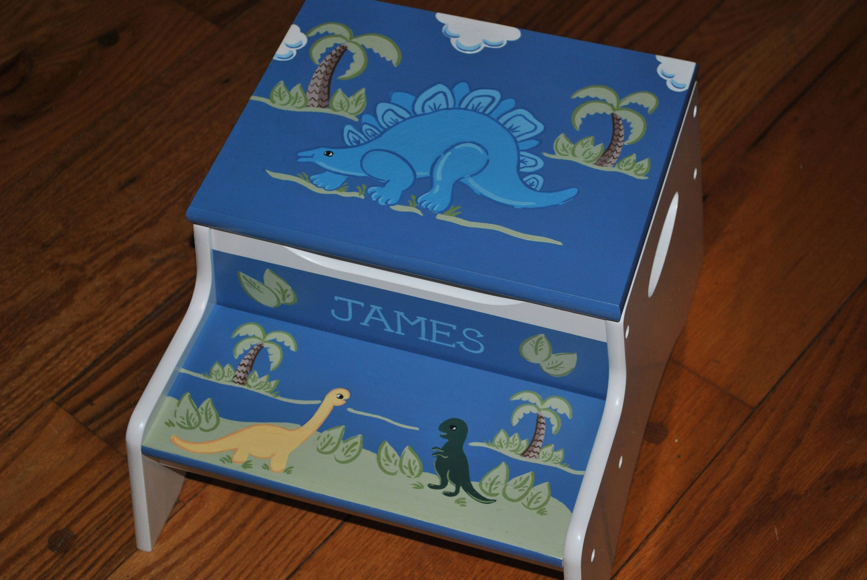 Kids Personalized 2 Step Stool And Storage Bench Dinosaur