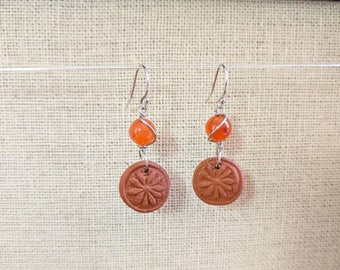 Sterling Silver Carnelian Flower Earrings