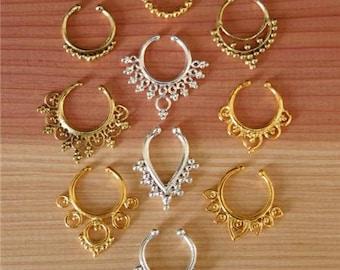 Fake Septum Ring -  Assorted Package -Faux Septum Ring - Fake Septum Piercing - Clip On Piercing - Clip On Septum - Septum Jewelry
