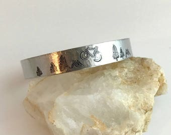 Mountain Bike Bracelet, bicycle bracelet, hand stamped jewelry, silver cuff bracelet, hammered cuff, aluminum bracelet, gift for cyclist