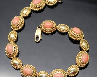"""GIFT IDEA !! Fabulous ESTATE Genuine Angel Skin Coral Double Beaded Rope Edge Solid 14K Yellow Gold Bracelet Size 8"""""""