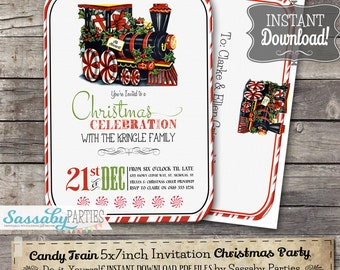 Candy Train Christmas Invitation - INSTANT DOWNLOAD - partially Editable & Printable Party Invite Decorations by Sassaby Parties