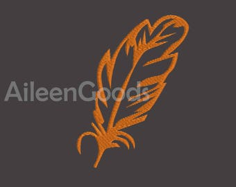 Feather Silhouette Embroidery  design 6 Size  INSTANT download machine embroidery
