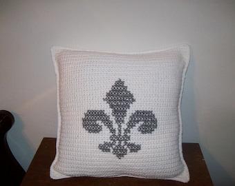 Grey and White Fleur De Lis Pillow Crochet