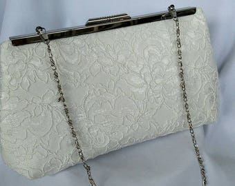 Ivory white floral lace pearl wedding clutch purse ivory summer wedding clutch purse BBsCustomClutches