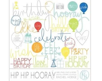 Hip Hip Hooray Birthday Set: Photoshop Brushes, Photo Overlays, Digital Cut Files and Clip Art