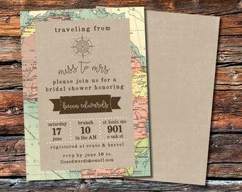 Vintage Map Travel Themed Bridal Shower Invitation