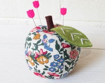 Cute Pincushion | Liberty of London Notions Floral Apple Pin Cushion, Pretty Pincushion, Pin Holder