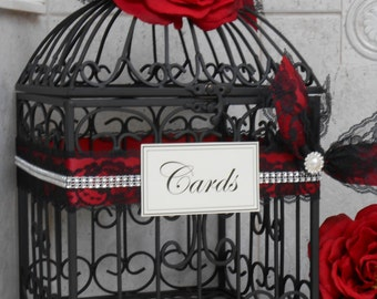 ONLY 2 LEFT! Red and Black Wedding Birdcage Card Holder | Wedding Card Box | Wedding Card Holder | Goth | Gothic | Victorian