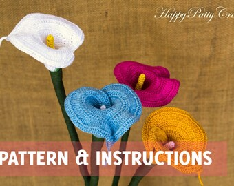 Crochet Calla Lily Pattern and Instructions - Crochet Flower Pattern - Crochet Wedding Bouquet Pattern - Crocht Pattern - INSTANT DOWNLOAD