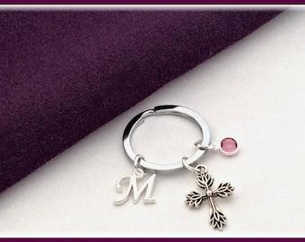 Silver Cross keychain, Girls Personalized keychain Accessory, Womens Religious Birthstone Keychain, Christian Cross Communion keychain Gift