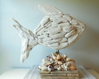 Driftwood Fish On Sea Shell Base- Coastal Home Decor- Beach Decor-Driftwood Art-Natural Driftwood-Driftwood Sculpture