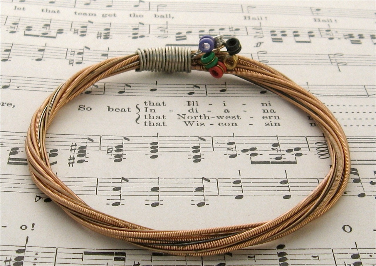recycled acoustic guitar string bracelet bronze colored with. Black Bedroom Furniture Sets. Home Design Ideas