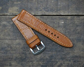 24mm Handmade Tan Leather Watch Strap