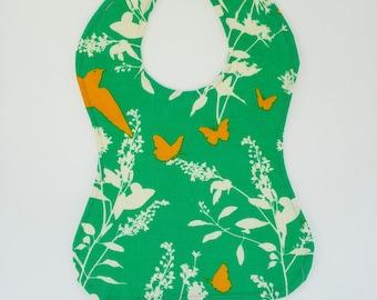 Green Baby Bib - Butterfly Baby Bib - Modern Floral Baby - Bib with Snaps - Water Resistant Bib - Feeding Bib - New Mom Gift