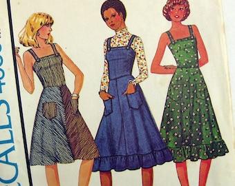 McCall's 4535 1970s Sewing Pattern Boho Hippie Dress Full Skirt Jumper Sundress Ruffle Hem Fitted Bodice / Size 10