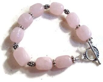 Pink Bracelet - Pink Rose Quartz Gemstone Jewellery - Sterling Silver Jewelry - Handmade - Beaded