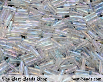 25g AB Clear Bugle Beads 7mm Preciosa Czech Glass Seed Beads