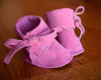 """Pink Doll Boots, Waldorf Doll Shoes 12"""" Soft Leather Suede Doll Boots"""